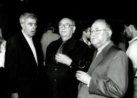 Antonio Fernández Alba, Carmelo Bernaola y Jesús Villa Rojo en la presentación del Libro-catálogo de la Biblioteca de Música Española Contemporánea, 2001