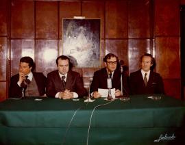Federico Mayor Zaragoza, Cruz Martínez Esteruelas y Juan March Delgado. Presentación de la Colección Tierras de España, 1976