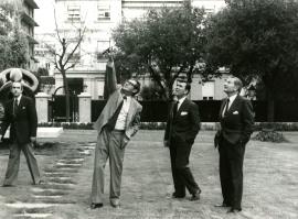 Juan March Delgado, José Luis Yuste Grijalba y David Rockefeller. Visita de David Rockefeller a la Fundación Juan March, 1978