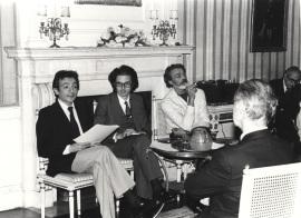 José Luis Gómez, Andrés Amorós Guardiola y Fabiá Puigserver. Semana Teatro Español en Nueva York organizada por la Fundación y el Spanish Institute de Nueva York, 1979