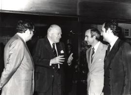 Juan March Delgado, Josep Tarradellas, José Luis Yuste Grijalba y Carlos March Delgado. Visita de Josep Tarradellas a la Fundación Juan March, 1979