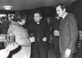 José Luis Martín Descalzo, José Luis Martín Patino y Carlos March Delgado. Comida-Homenaje de ABC a la Fundación Juan March, 1980