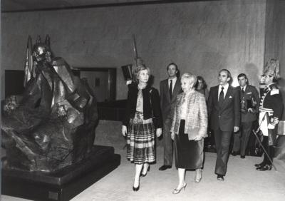 Sofía de Borbón, Juan Carlos de Borbón, Carmen Delgado de March y José Luis Yuste Grijalba. Acto de entrega de los Premios de la Sociedad General de Autores Españoles