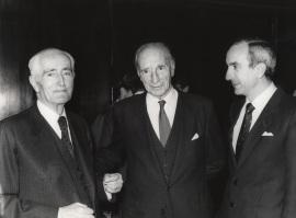 Diego Angulo, Justino Azcárate y José Luis Yuste Grijalba. Presentación del libro sobre Murillo, 1982