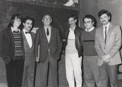 Pablo Galán, Albert Llanas, Xavier Montsalvatge, Francisco Javier López Guereña, José.Manuel López López y Pablo Miyar. Cuarta Tribuna de Jóvenes Compositores