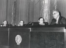 José Luis Yuste Grijalba, Landelino Lavilla, Gustavo Villapalos y Eduardo García de Enterría. Presentación del libro-homenaje a Eduardo García de Enterría, 1991