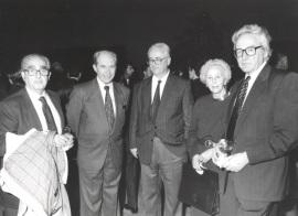 Fernando Morán, Juan Marichal, Francisco García Olmedo, Soledad Salinas y Elías Díaz García. Presentación del nº 100 de la Revista Saber Leer, 1996