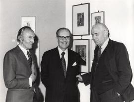 Mariano Fernández Zumel, Domingo García Sabell y Pedro Laín Entralgo. Exposición Ars Medica, 1978