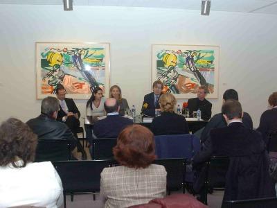 Manuel Fontán del Junco, Dorothy Lichtenstein, Javier Gomá Lanzón y Jack Cowart. Exposición Roy Lichtenstein: De principio a fin