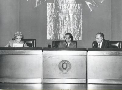 Rosa Chacel, Eugenio de Bustos y Francisco Ynduráin Muñoz. Conferencia en el ciclo Literatura Viva