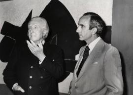 Aimé Maeght y José Luis Yuste Grijalba. Exposición Georges Braque Óleos, gouaches, relieves, dibujos y grabados, 1979