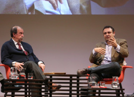 Andrés de Blas y Ignacio Sánchez-Cuenca. En conferencia sobre Independentismos, 2015