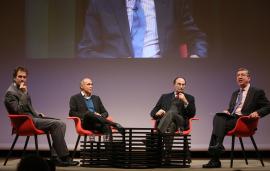 Íñigo Alfonso, Juan Díez Medrano, Emilio Lamo de Espinosa y Antonio San José. En conferencia sobre Globalización, 2015