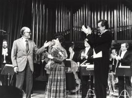 Xavier Montsalvatge, Carmen Bustamante y José María Franco Gil. Concierto Homenaje a Xavier Montsalvatge, 1982