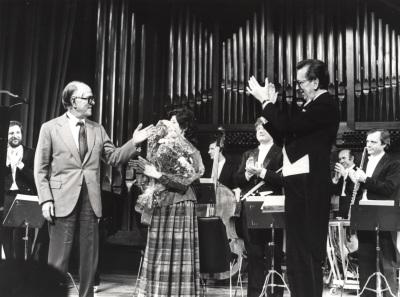 Xavier Montsalvatge, Carmen Bustamante y José María Franco Gil. Concierto Homenaje a Xavier Montsalvatge