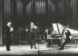 Álvaro Marías, Jan Grimbergen, Emilio Serrano y René Boch. Concierto Haendel, 1985