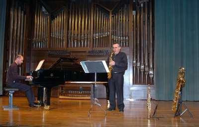 Dúo Miján-Mariné, Manuel Miján y Sebastián Mariné. Concierto El saxofón en España