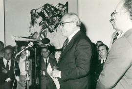 Fernando Zóbel durante el acto de entrega de la Colección de Arte Abstracto del Museo de Cuenca a la Fundación Juan March, 1981