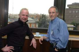Thomas Jenuwein y Miguel Beato. Conferencia Epigenetics and Chromatin: Transcriptional Regulation and Beyond, 2005