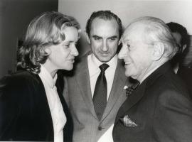 Soledad Becerril, José Luis Yuste Grijalba y Sidney Janis. Exposición Piet Mondrian Óleos, acuarelas y dibujos, 1982