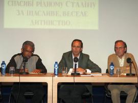 Desiderio Navarro, Manuel Fontán del Junco y Manuel Ramírez. Presentación del libro Obra de arte total Stalin, de Borís Groys, 2008