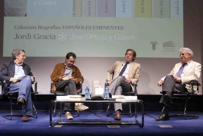 Andrés Trapiello, Jordi Gracia, Javier Gomá Lanzón y Santos Juliá. Presentación del libro Españoles Eminentes. José Ortega y Gasset de Jordi Gracia