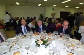Pablo Vallbona, Alfredo Lafita y Enrique Piñel en la en la comida celebración del 50º aniversario de la Fundación Juan March, 2005