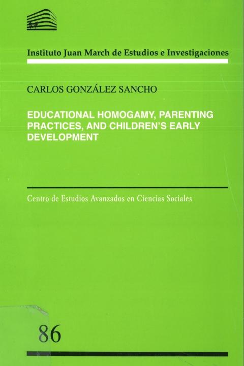 "Portada de ""Educational Homogamy, Parenting Practices, and Children's Early Development"""