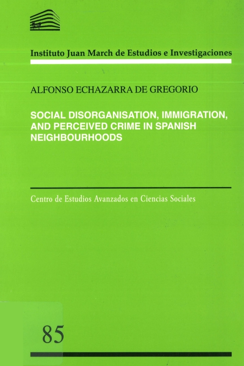 """Portada de """"Social Disorganisation, Immigration, and Perceived Crime in Spanish Neighbourhoods"""""""