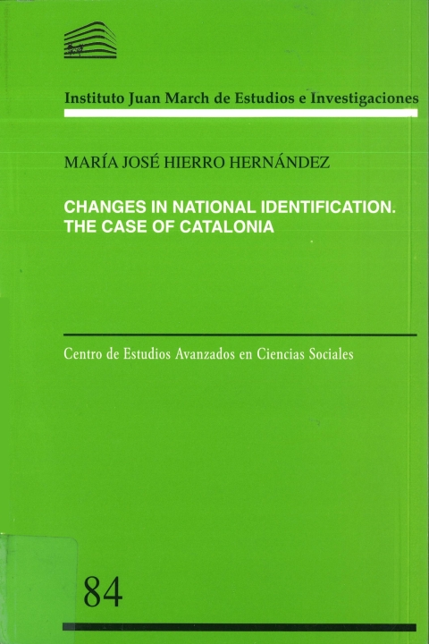 """Portada de """"Changes in National Identification: A Study of the Catalan Case"""""""