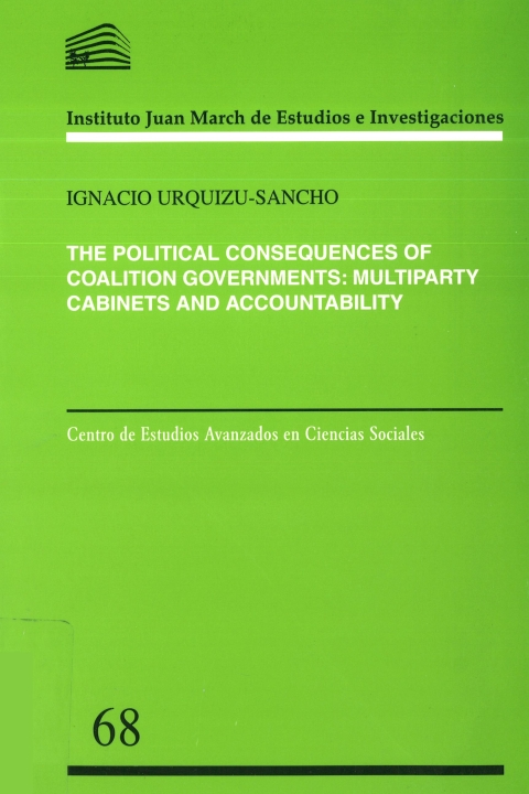 """Portada de """"The political consequences of coalition governments: multiparty cabinets and accountability"""""""