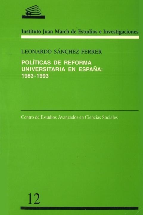 "Portada de ""Políticas de reforma universitaria en España: 1983-1993"""