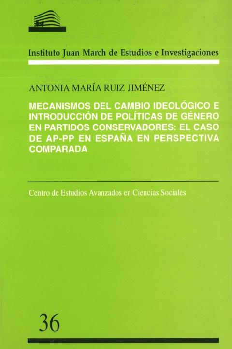 """Portada de """"Mecanismos del cambio ideológico e introducción de políticas de género en partidos conservadores: el caso de AP-PP en España en perspectiva comparada"""""""