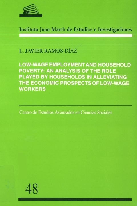 "Portada de ""Low-wage employment and household poverty: an analysis of the role played by households in alleviating the economic prospects of low-wage workers"""