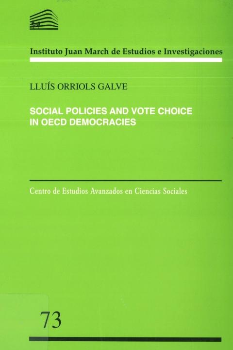 """Portada de """"Social policies and vote choice in OECD democracies"""""""