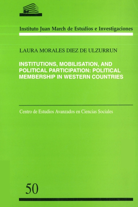 "Portada de ""Institutions, mobilisation, and political participation: political membership in Western countries"""