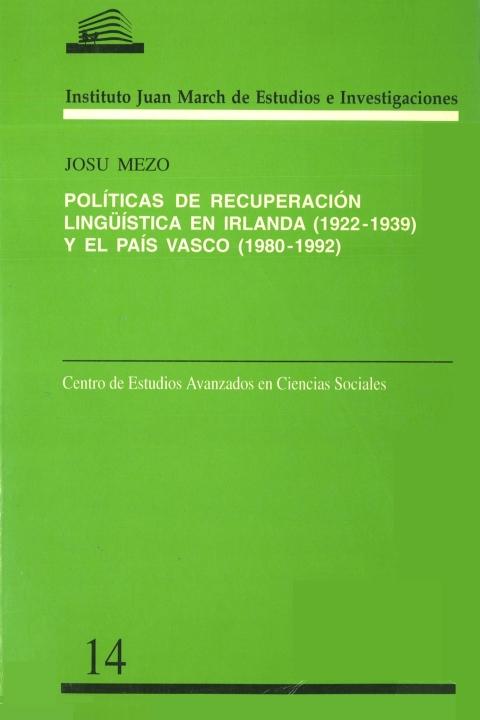 """Portada de """"Políticas de recuperación lingüística en Irlanda (1922-1939) y el País Vasco (1980-1992)"""""""