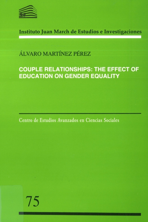 """Portada de """"Couple relationships: the effect of education on gender equality"""""""