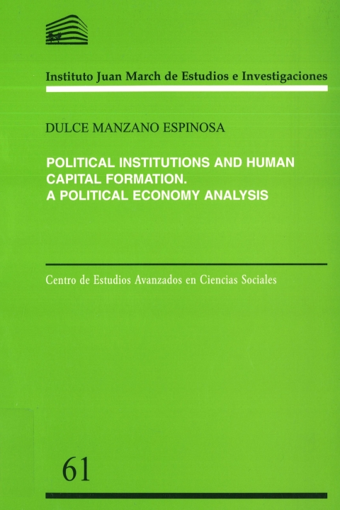 "Portada de ""Political institutions and human capital formation: a political economy analysis"""