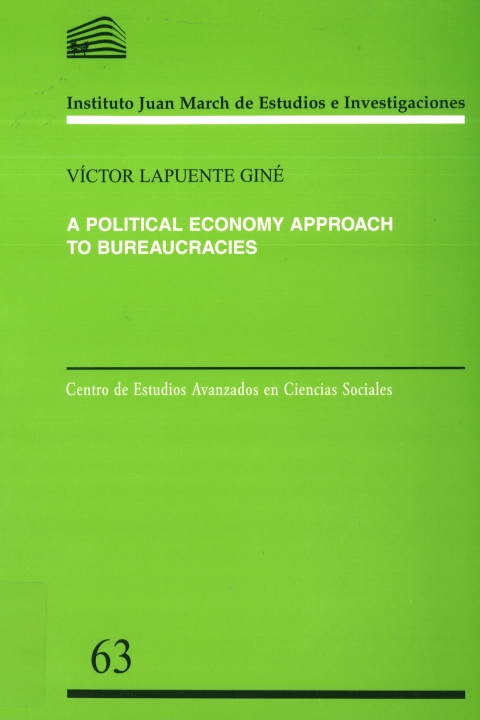 "Portada de ""A political economy approach to bureaucracies"""