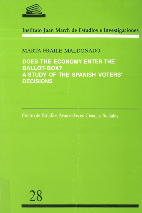 """Portada de """"Does the economy enter the ballot-box?: a study of the Spanish voters' decisions"""""""