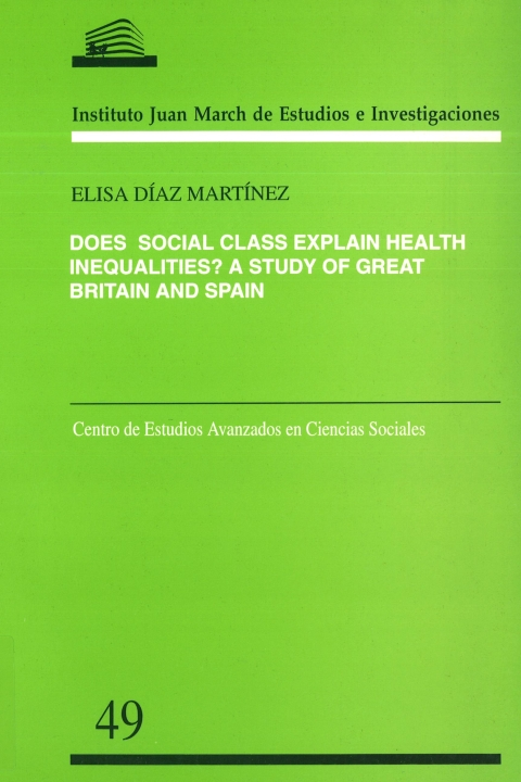 """Portada de """"Does social class explain health inequalities?: a study of Great Britain and Spain"""""""