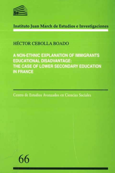 "Portada de ""A non-ethnic explanation of immigrants educational disadvantage: the case of lower secondary education in France"""