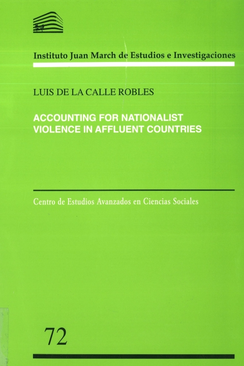 "Portada de ""Accounting for nationalist violence in affluent countries"""