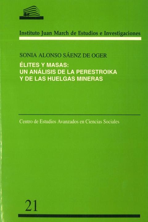 """Portada de """"Elites y masas: un análisis de la Perestroika y de las huelgas mineras"""""""