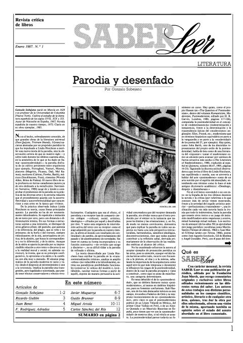 """Portada de """"Revista Saber Leer 1987"""""""