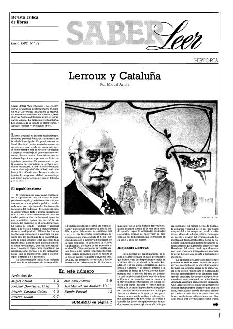 """Portada de """"Revista Saber Leer 1988"""""""