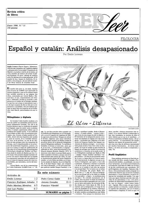 """Portada de """"Revista Saber Leer 1990"""""""