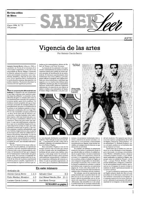 """Portada de """"Revista Saber Leer 1994"""""""
