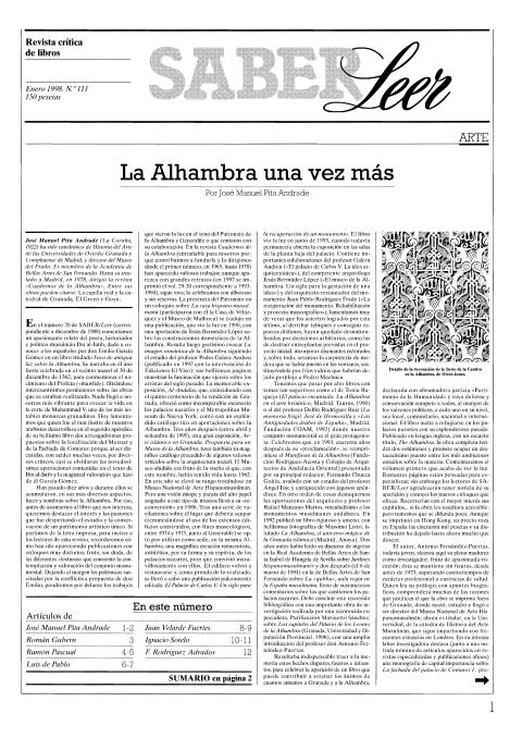 """Portada de """"Revista Saber Leer 1998"""""""